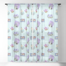 Cute Animal in Unusual Containers Pattern Sheer Curtain