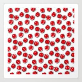 Dice Red on White Art Print