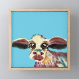 Colorful Cow With Big Eyes On Bluebackground Framed Mini Art Print