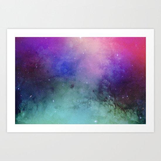 Mystical azure galaxy Art Print