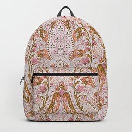 Orange Pink Leaf Flower Paisley Backpack