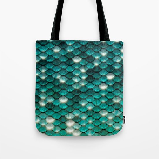 Turquoise sparkling mermaid glitter scales- Mermaidscales on #Society6 Tote Bag