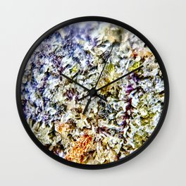 Purple Forum Cut Cookies Strain Resinous Amber Trichomes Dank Buds Close Up Wall Clock