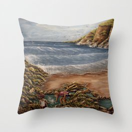 Rock Pools at Ogmore Throw Pillow