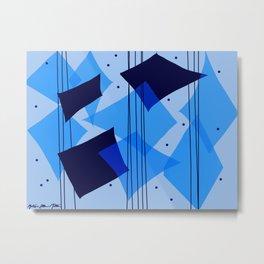 Moody Blues Rain Dance - Blue and Black Palette Metal Print