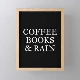 Coffee Books & Rain - Black Framed Mini Art Print