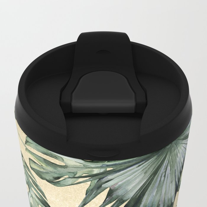Palm Leaves Classic Linen Metal Travel Mug