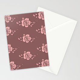 flowers pattern floral fabric pink ros Stationery Cards