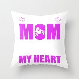 Motocross Moms Full Heart Mothers Day T-Shirt Throw Pillow