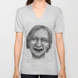 Untitled - charcoal/graphite drawing - old man, happy, smile, laugh, realistic, pencil portrait Unisex V-Neck