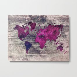 World map watercolor 7 Metal Print