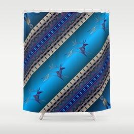 Elk Spirit (Blue) Shower Curtain