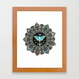 Lunar Moth Mandala Framed Art Print