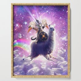 Lazer Warrior Space Cat Riding Llama Eating Ice Cream Serving Tray