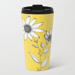 Wildflower line drawing   Botanical Art Metal Travel Mug