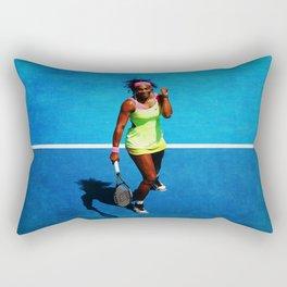 Serena Williams Tennis Celebrating Rectangular Pillow