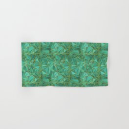 Triangular Structures Turquoise Geometric Facets with Gold Lines Hand & Bath Towel