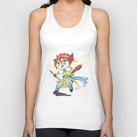 magic the gathering Tank Tops featuring Magic the Gathering Brimaz Cat Warrior Token by Deadlance
