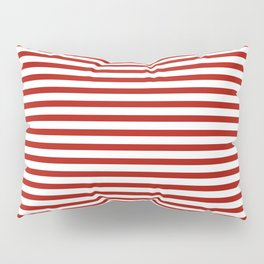 Red & White Maritime Small Stripes - Mix & Match with Simplicity of Life Pillow Sham