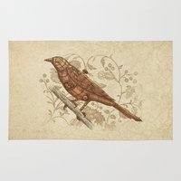 steampunk Area & Throw Rugs featuring Steampunk Songbird  by Terry Fan