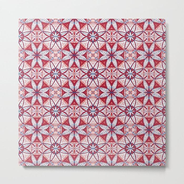 Red Lisbon Tile Geometric Print Metal Print