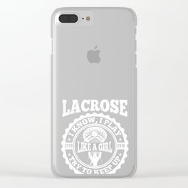 Lacrosse Girl product gift, Lax design for women Clear iPhone Case