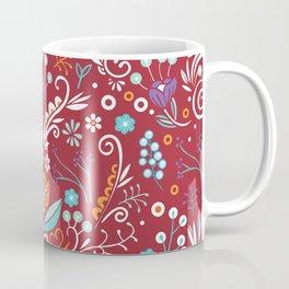 Flower circle pattern, red Coffee Mug