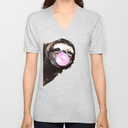 Bubble Gum Sneaky Sloth in Green Unisex V-Neck