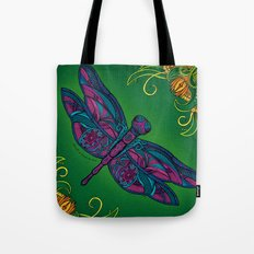 Dragonfly. Fly with me through the wind. Tote Bag