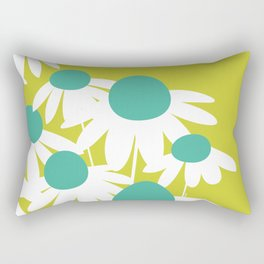 Flowers on Green by Friztin Rectangular Pillow