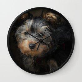 Yorkshire Terrier Puppy Portrait Wall Clock