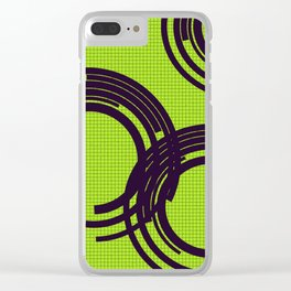 Black open rings on green Clear iPhone Case