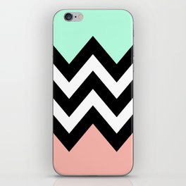 DOUBLE COLORBLOCK CHEVRON {MINT/CORAL/BLACK} iPhone Skin