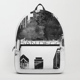 Black and white watercolor San Diego skyline Backpack