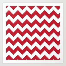 Red and White Bold Chevron Stripes Art Print