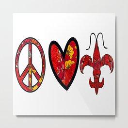 Red & Yellow Peace Love and Crawfish Design Metal Print