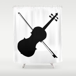 Fiddle Silhouette Shower Curtain