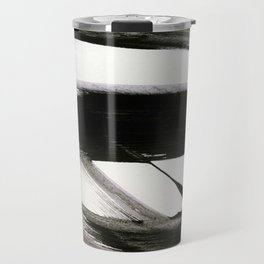 Brushstroke 9: a bold, minimal, black and white abstract piece Travel Mug