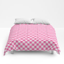 Pink Roses in Anzures 1 Gingham 1 Comforters