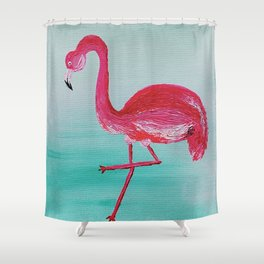 Frank the Flamingo Shower Curtain