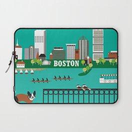 Boston, Massachusetts - Skyline Illustration by Loose Petals Laptop Sleeve
