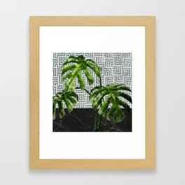 Monstera Leaves on Black Marble and Tiles Framed Art Print
