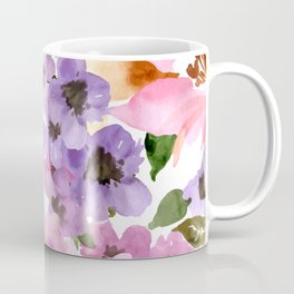 Pink Purple Watercolor Flowers Coffee Mug
