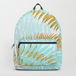 Aloha - Tropical Palm Leaves and Gold Metal Foil Leaf Garden Backpack