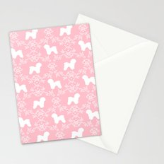 Bichon Frise dog florals silhouette pink and white minimal pet art dog breeds silhouettes Stationery Cards