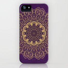 Golden Flower Mandala on Textured Purple Background iPhone Case