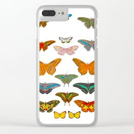 Vintage Scientific Illustration Of Colorful Butterflies Clear iPhone Case