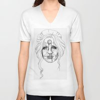 versace V-neck T-shirts featuring Donatella Versace by Miguel Angel Flores