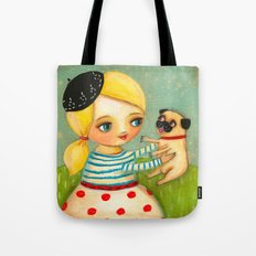 FRENCH GIRL with Fawn Pug in Paris Tote Bag