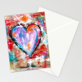 Reckless Heart, Abstract Art Painting Stationery Cards